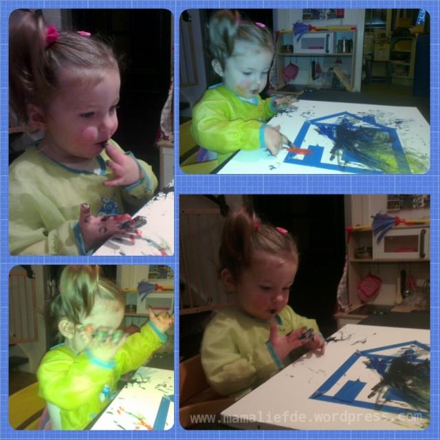 Canvas schilderij met tape - mamaliefde